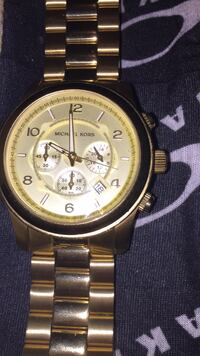 round gold Michael Kors chronograph watch with link bracelet Toronto, M8W 1B2