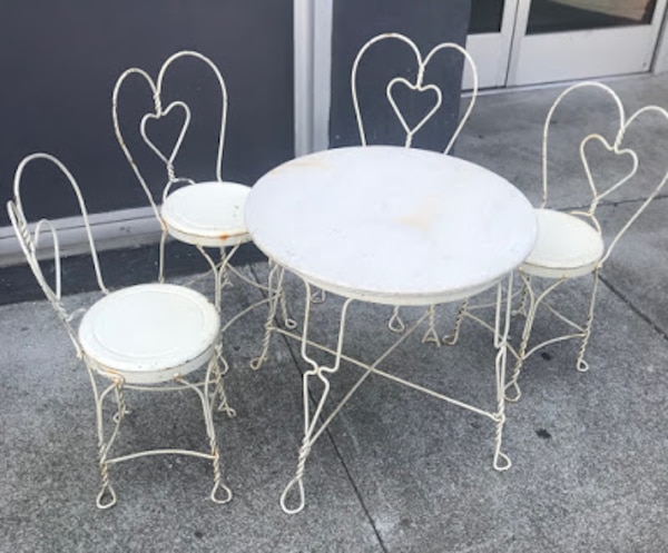 28447 Wrought Iron Child S Patio Bistro Set 23 Tall Diameter Table 4 Chairs