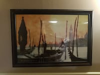 black wooden frame painting of boats