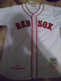 white and red Red Sox jersey