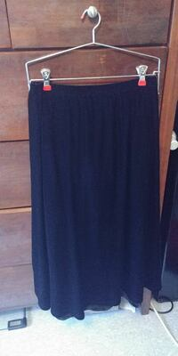 women's knee length black velvet skirt