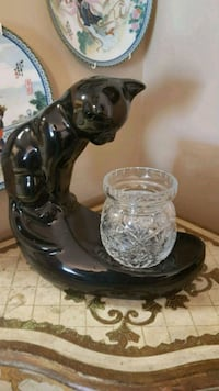 Vintage Mid Century Pottery Glossy Black Cat Barrie, L4N 6C3
