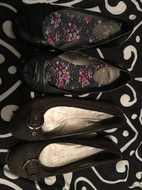 Women's two pairs of black and brown flats