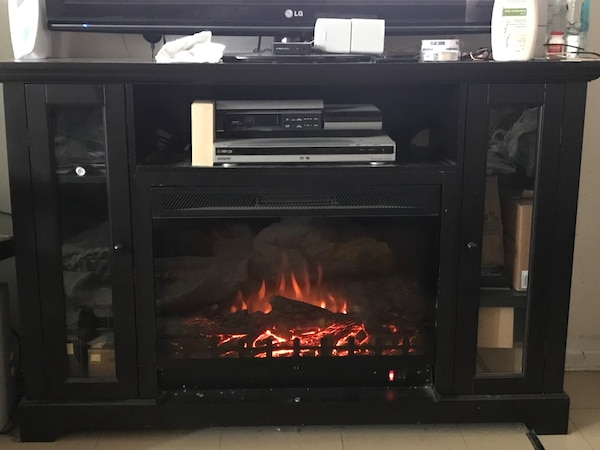 blackElectric fireplace wooden TV stand