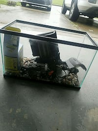 Black framed glass fish tank