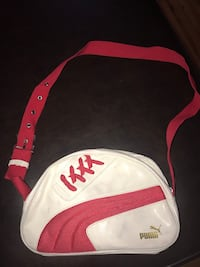 red and white Puma leather crossbody bag