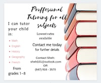 Tutoring for grades 1-8 available in Scarborough for low rates Toronto