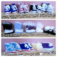 assorted-color crocheted baby booties  Baldwin, 11510