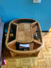 brown wooden framed glass top table Idaho Falls, 83401