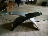 black wooden base glass top coffee table Fairfax