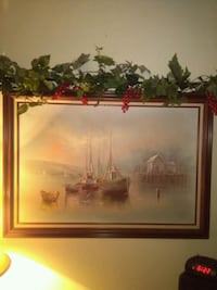 Boats by the Dock Painting Signed Fresno