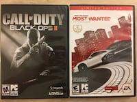 PC game: call of duty, need for speed Harrison, 07029