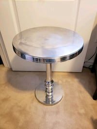 Aluminum side end table silver $245