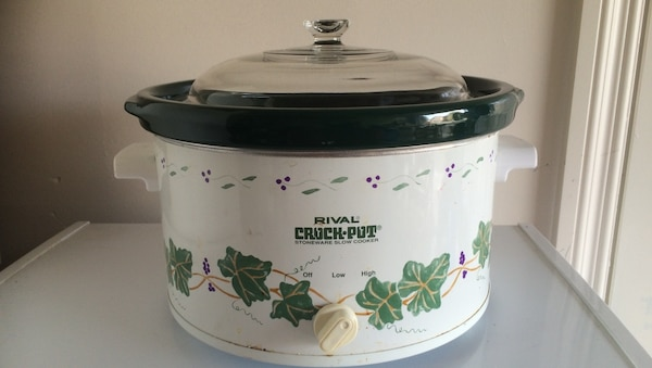 white, green, and black Rival Crock-pot slow cooker