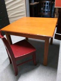 Toddler size wood activity table and chair.