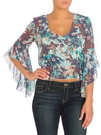 nwt Guess Surplice Bell-Sleeve Blouse blue L Burnaby