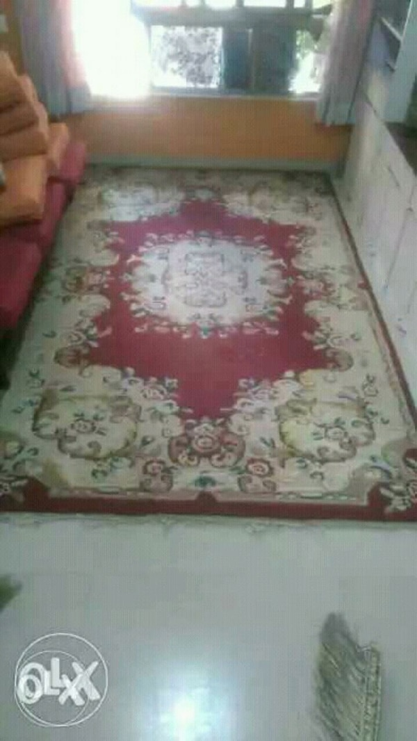 white, red, and green floral area rug