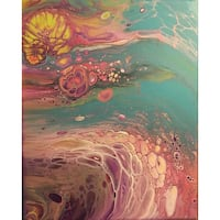 Pink and green abstract painting 8x10 canvas Granite City