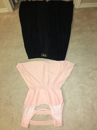 women's pink sleeveless peplum top and black skirt Edmonton, T5A