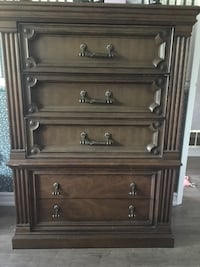 brown wooden 5-drawer tallboy dresser Toronto, M2J