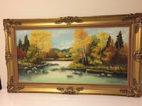 Brass framed painting of river surrounded by assorted trees large painting. Ottawa, K2J
