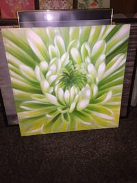 white and green flower painting