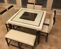 rectangular white wooden table with four chairs dining set Houston, 77019