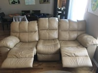 brown leather recliner sofas 2-piece (5 seat) set