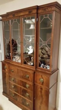 Flame Mahogany Breakfront China Cabinet STERLING