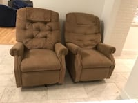 two brown fabric sofa chairs Reston, 20190
