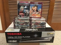 Toshiba A30 HD-DVD player NEW in box SEALED $95 - HD-DVD movies NEW (lot of 21) $40
