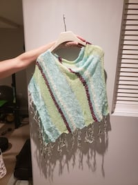 blue, green, and red striped fringe poncho Brampton, L6X 4S9