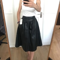 zara leather looking long black skirt with tag-xs London, W14