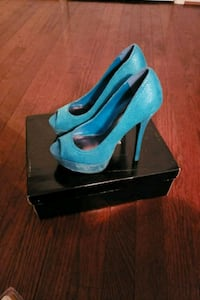 pair of blue  peep toe platform stilettos Indian Head, 20640