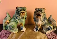 PAIR OF VINTAGE CHINESE GLAZED CERAMIC FOO DOG FIGURINES Toronto, M1M 3G7