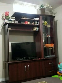 black wooden TV hutch with flat screen television Oakville, L6K 3S8