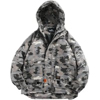 CHUCK CATZO STAND COLLAR CAMOUFLAGE HOODED JACKET IN GRAY