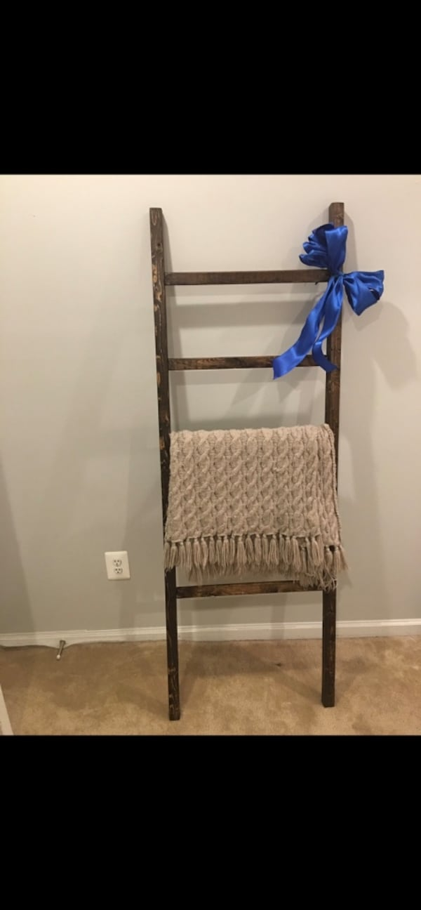 Wall-Leaning Rustic Wood Ladder-Style Blanket Rack- Towel Rack 8e1100b2-e9a6-4bbf-9811-9e7fad40d852