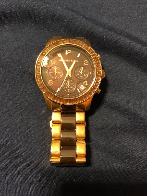 3cdcce824e35 Used round gold-colored Michael Kors chronograph watch with chain bracelet  for sale in Fort Worth - letgo