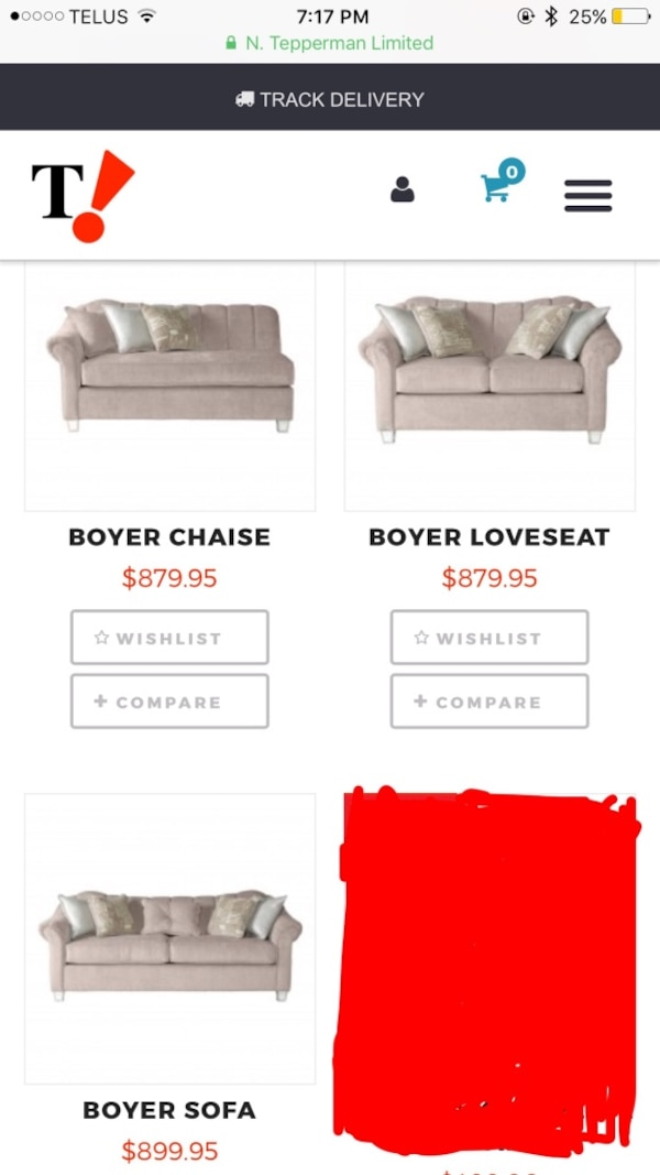 Absolutely stunning sofa, love seat, and chaise like new!