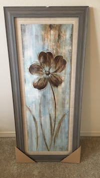 grey 5-petal flower painting with wooden frame