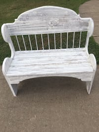 white wooden bench with white metal base