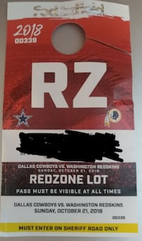 Cowboys at Redskins Parking Pass MCLEAN