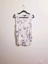 White and Purple Floral Tank Top