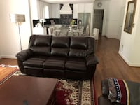 black leather 3-seat sofa Fairfax Station, 22039