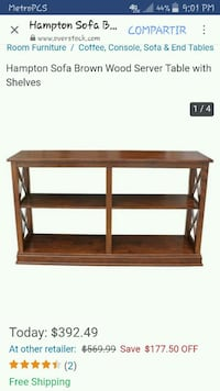 brown wooden Hampton Sofa server table with shelves screenshot