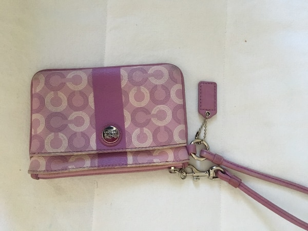 Pink and brown coach wristlet