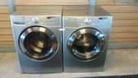 Silver front-load washer and dryer set Del Valle