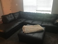 Black leather sectional sofa with ottoman Laurel, 20723