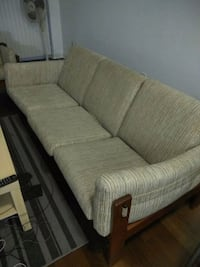 brown wooden framed gray fabric padded sofa Vaughan, L4L 1A6